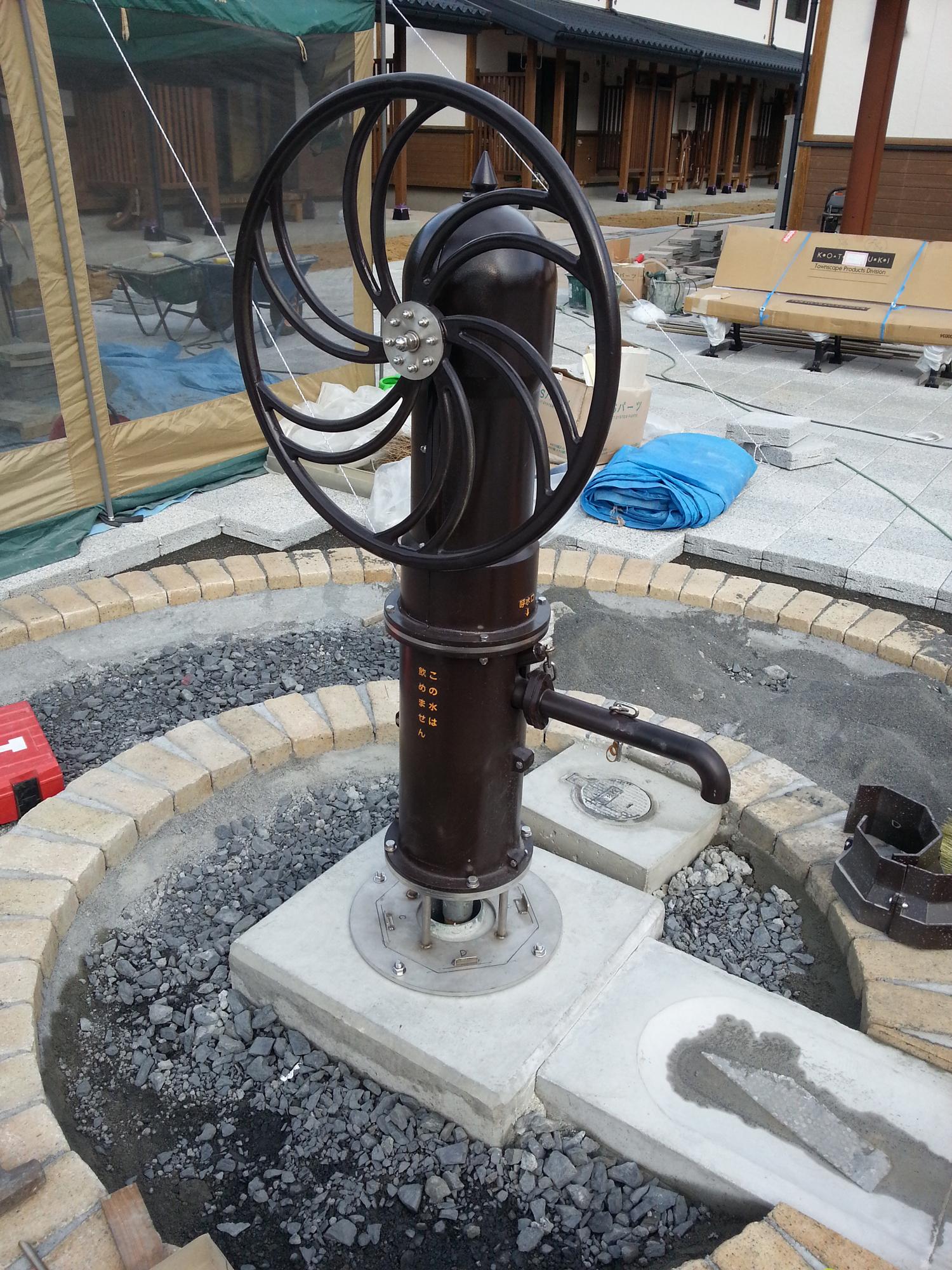 井戸ポンプ取付風景1